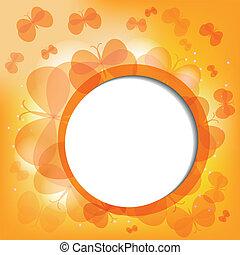 orange, papillons, abtract, fond