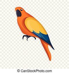 Orange parrot icon, cartoon style