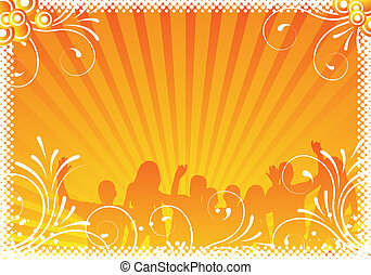 orange party background with ornaments and people