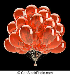 orange party balloons bunch translucent classic