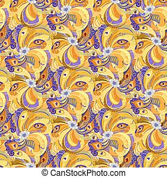 Orange peacock feathers seamless pattern background.
