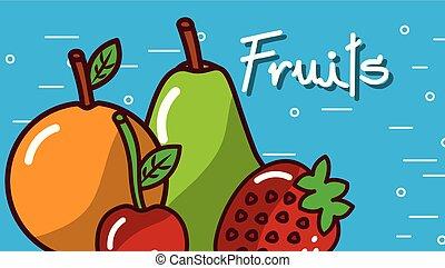 orange pear cherry strawberry fruits blue background