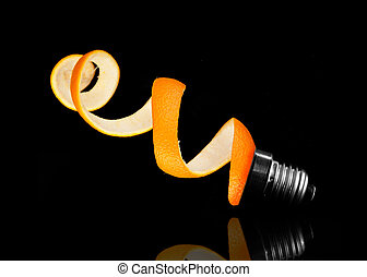 Orange peel and light bulb