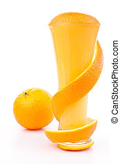 Orange peel wrapped around a glass