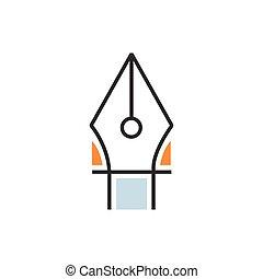 Orange pen tool icon line