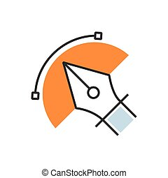 Orange pen tool icon semicircle design