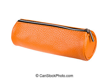 orange pencil case isolated on white