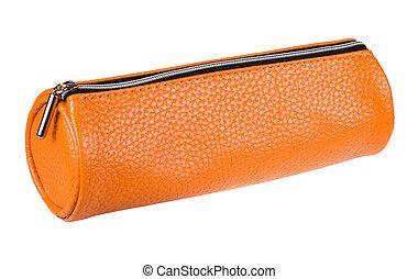 orange pencil case isolated on white background