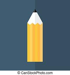 Orange pencil icon over blue