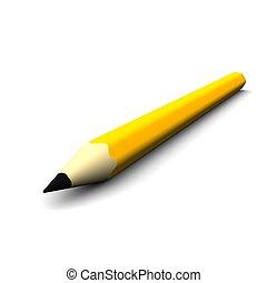 Orange pencil isolated on white. 3d rendered illustration.