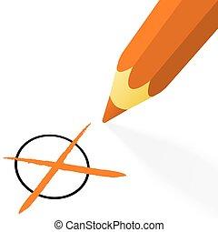 orange pencil with cross
