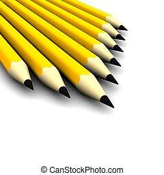 Orange pencils isolated on white. 3d rendered illustration.
