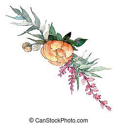 Orange peony. Isolated flower illustration element. Background set. Watercolour drawing aquarelle bouquet.