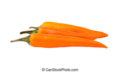 Orange peppers isolated over white