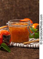 Persimmon Jam - Orange Persimmon Jam with Saffron. Selective...