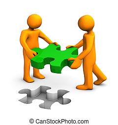 orange, person, puzzel, grün