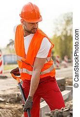 orange, physique, ouvrier, uniforme