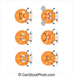 Orange pie cartoon character with various angry expressions