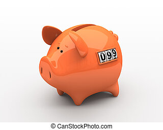 Orange piggy bank - counter on white background