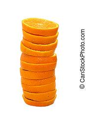 orange, pile, tranches