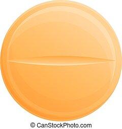 Orange pill icon, cartoon style