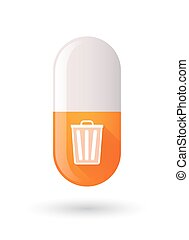 Orange pill icon with a trash can