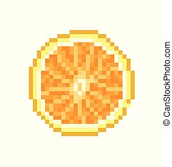 Orange pixel Icon, in the vector.