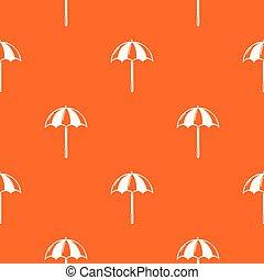 orange, plage, vecteur, parapluie, modèle