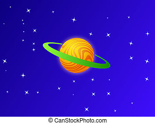 orange planet on blue sky and white