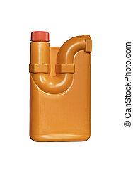 Orange plastic bottle drain cleaner