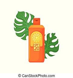 Orange plastic bottle of sunblock and two green monstera...