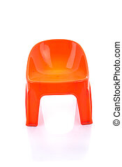 Orange plastic chair on isolated white background with reflection.