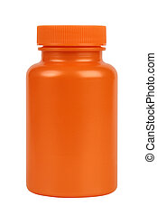 Orange plastic jar. Isolated on white. Clipping path ...