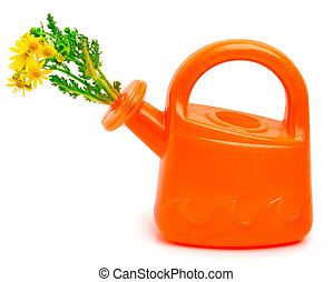 Orange plastic watering can with flowers
