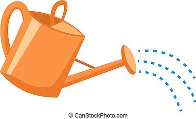 Orange plastic watering can with water