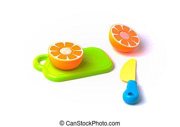 orange, plastique, coupure, moitié