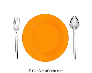 orange plate, spoon and fork isolated on white
