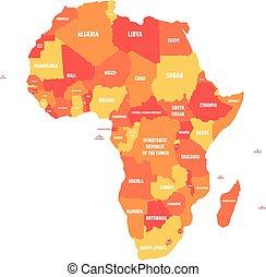 Orange political map of Africa. Vector illustration