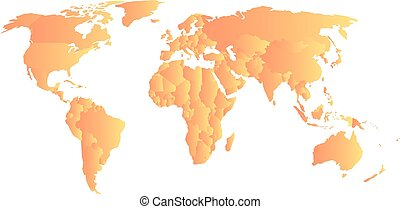 Orange political map of World. Each state with own...