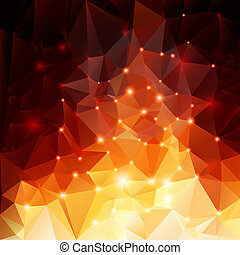 Orange polygonal background - Abstract polygonal background...