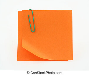 orange post-it notes with a bent corner on white