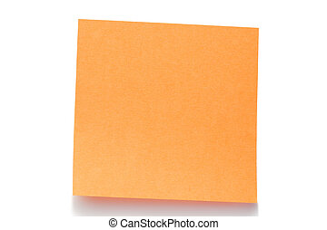 Orange post-it on a white background