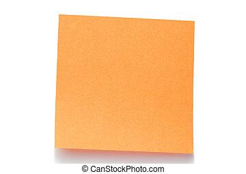Orange post-it on a white background