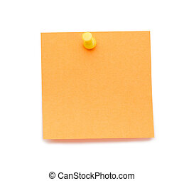 Orange post-it with drawing pin on a white background