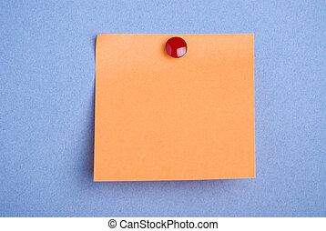 Orange postit on blue. - Post it note. Orange with red...
