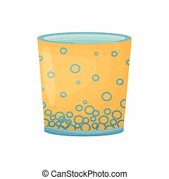 Orange pot with a blue bottom. Vector illustration on white background.