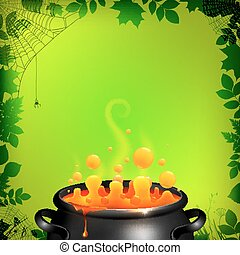 Orange potion in black cauldron on green background, ...