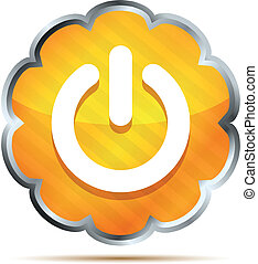 orange power button icon on a white