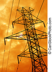 Orange Power Line Si - The silhouette of a power line tower...
