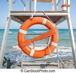 orange, préservateur vie, plage